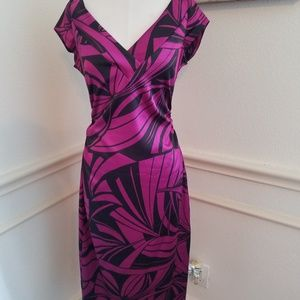 Fuchsia palm print Maggi London Cocktail dress